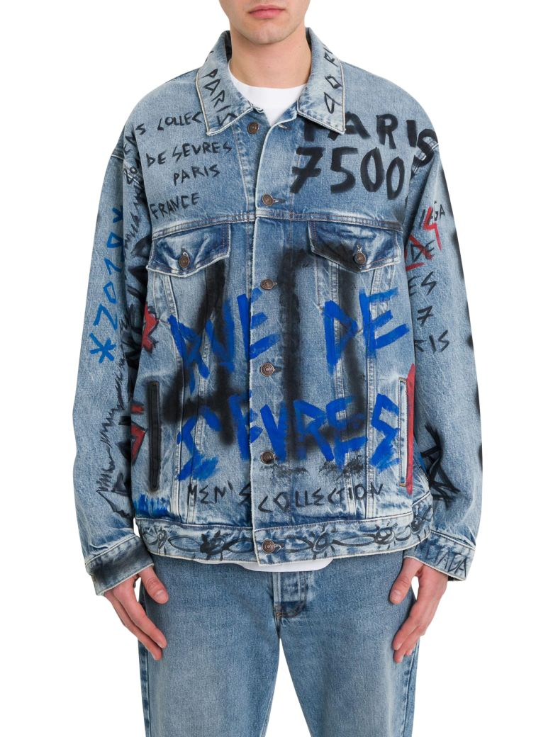 Balenciaga Graffiti Denim Jacket - Blu