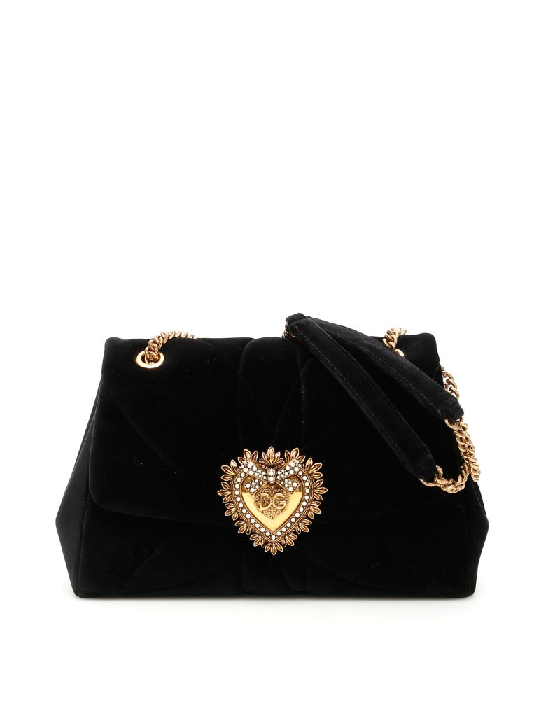 Dolce & Gabbana Devotion Matelasse Velvet Bag - NERO (Black)