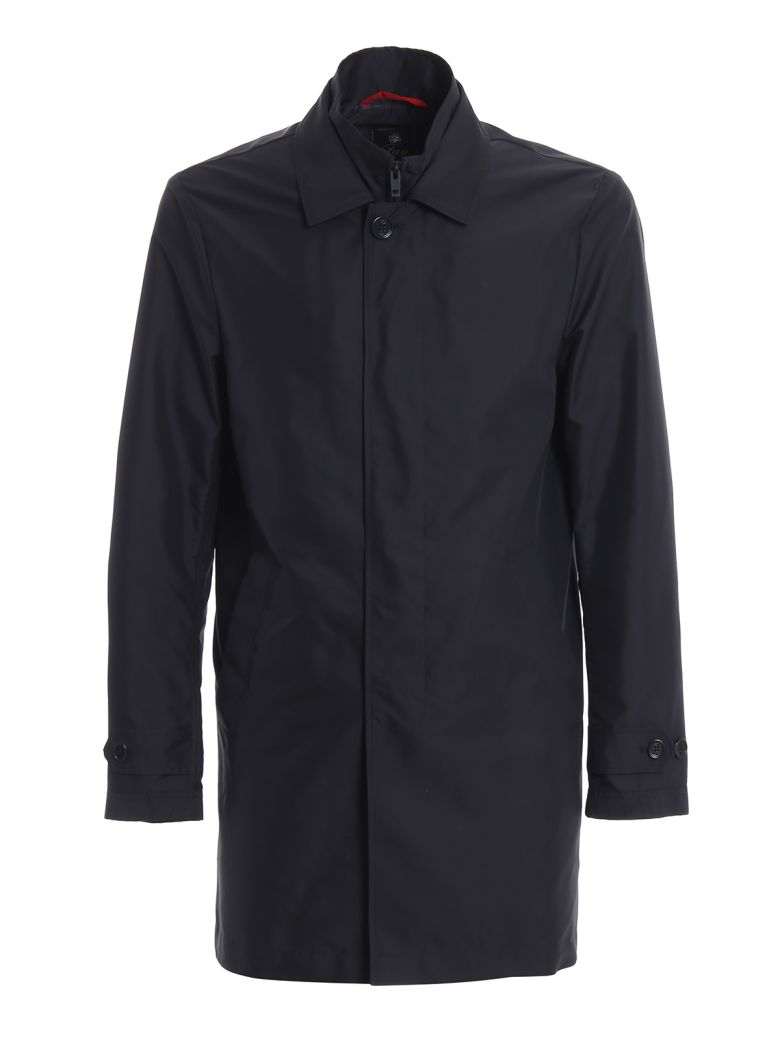 Fay Navy Blue Morning Double Front Trench Coat - Blue