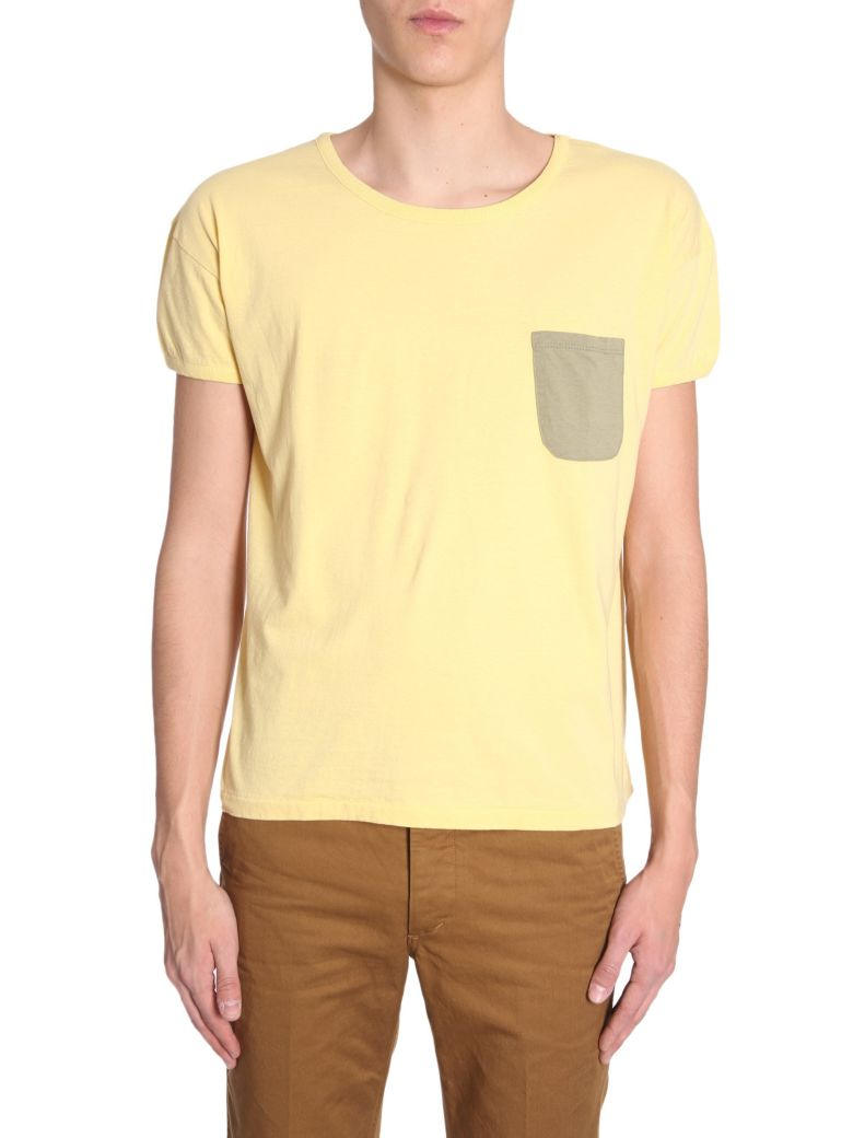Visvim T-shirt With Contrast Pocket - GIALLO