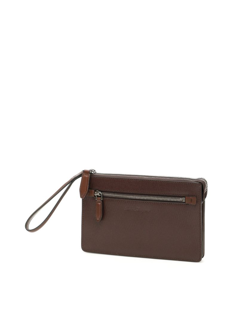 Salvatore Ferragamo Revival Clutch - BROWN (Brown)