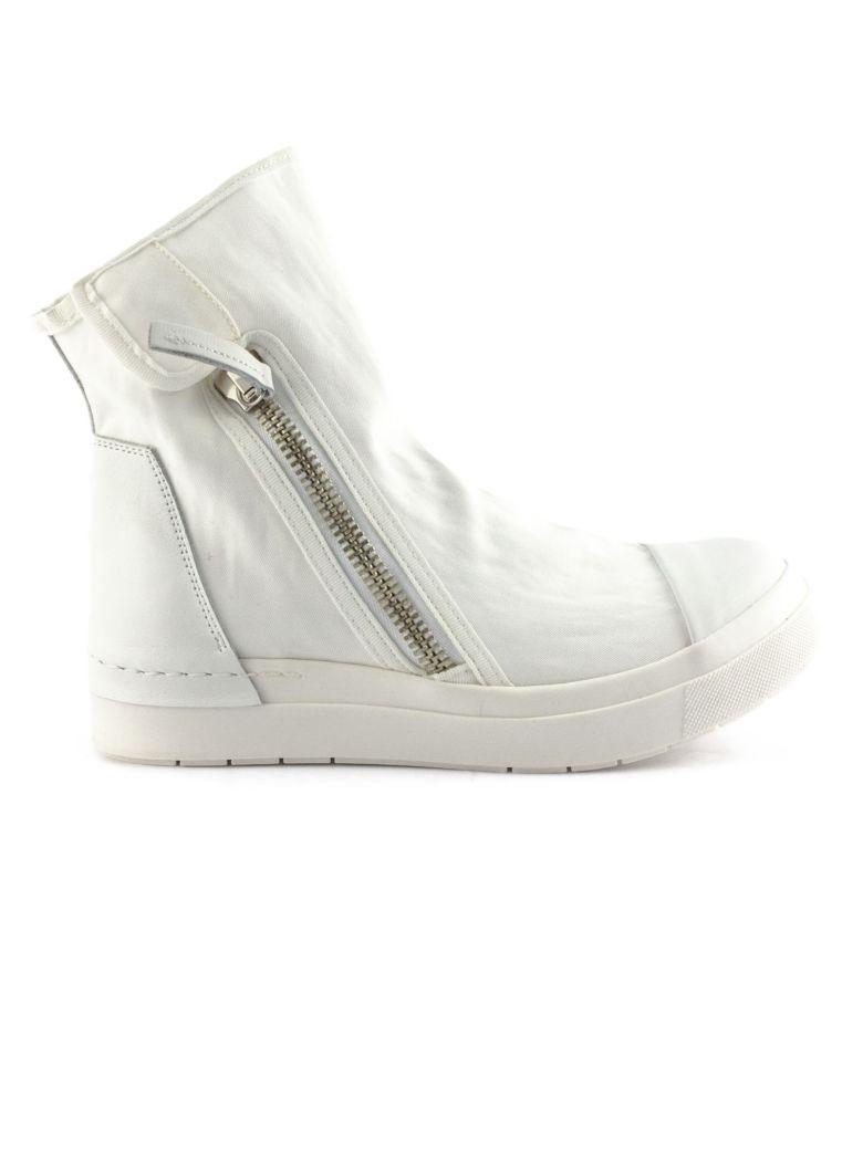 Cinzia Araia High-top Sneaker In Black Leather And Fabric - Nero+bianco