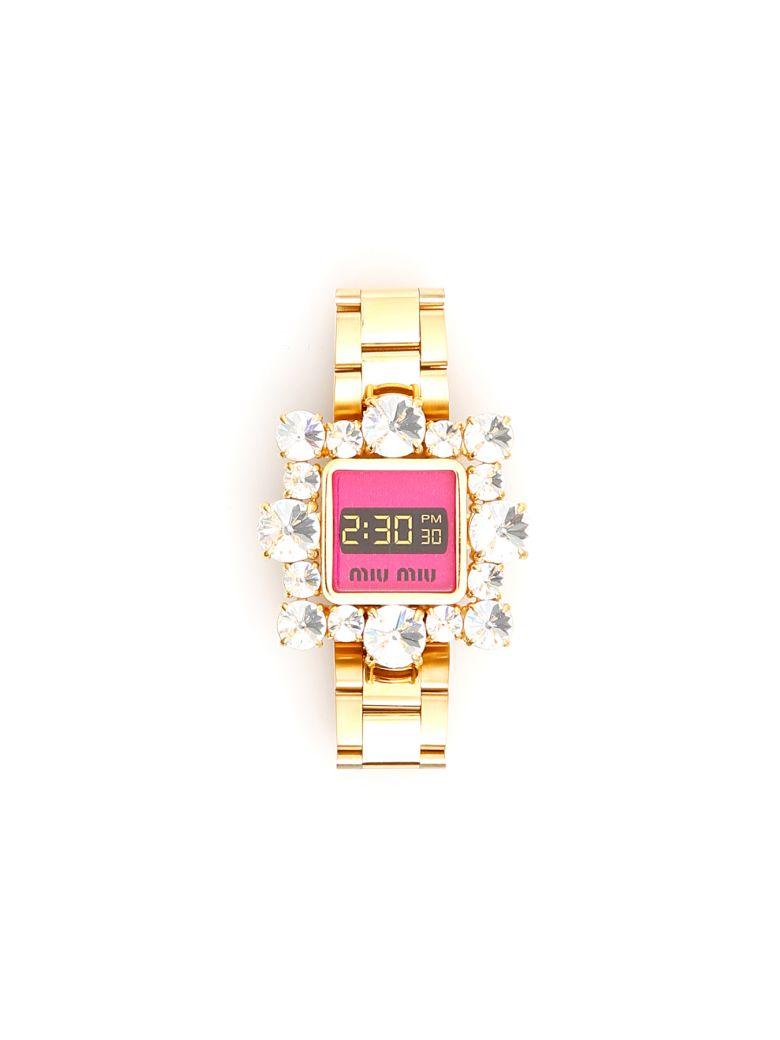 Miu Miu Crystal-embellished Bracelet - ORO FUXIA (Metallic)