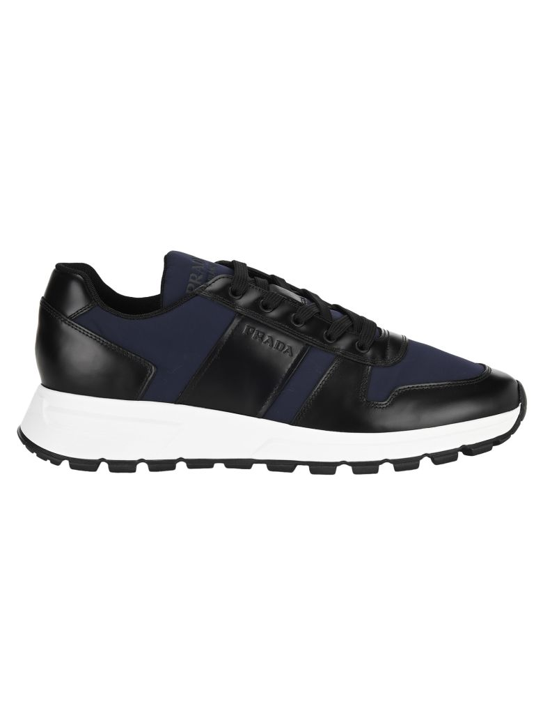 Prada Fabric And Brushed Leather Sneakers - BLACK ROYAL