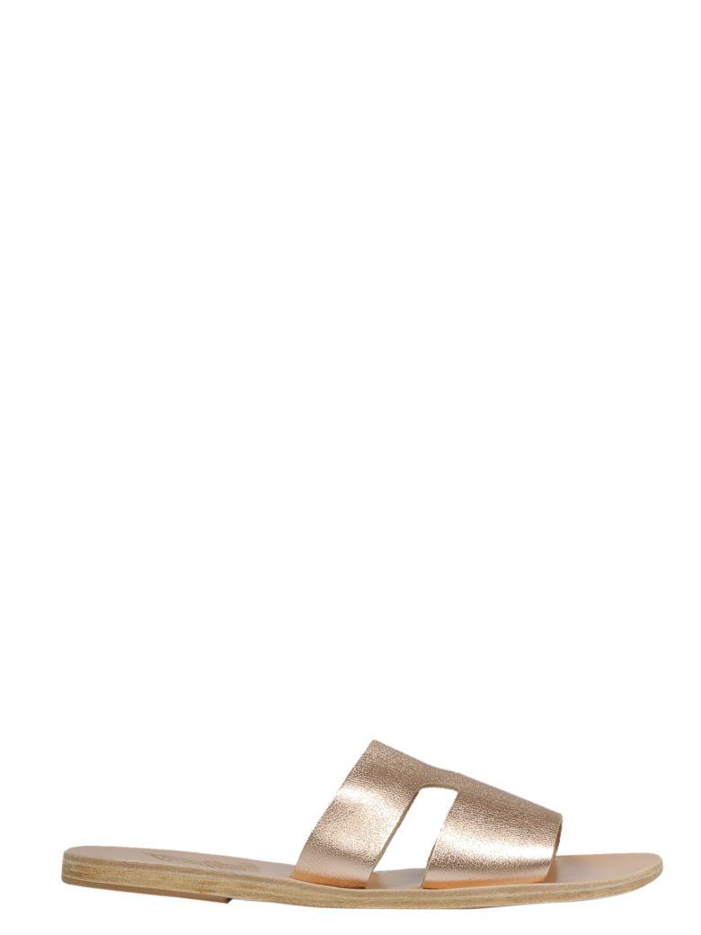Ancient Greek Sandals Cut-out Sliders - Pink Metal Sand