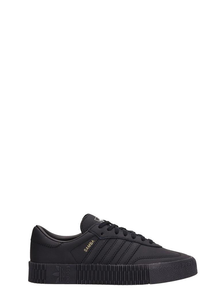 Adidas Black Leather Sambarose Sneakers - black