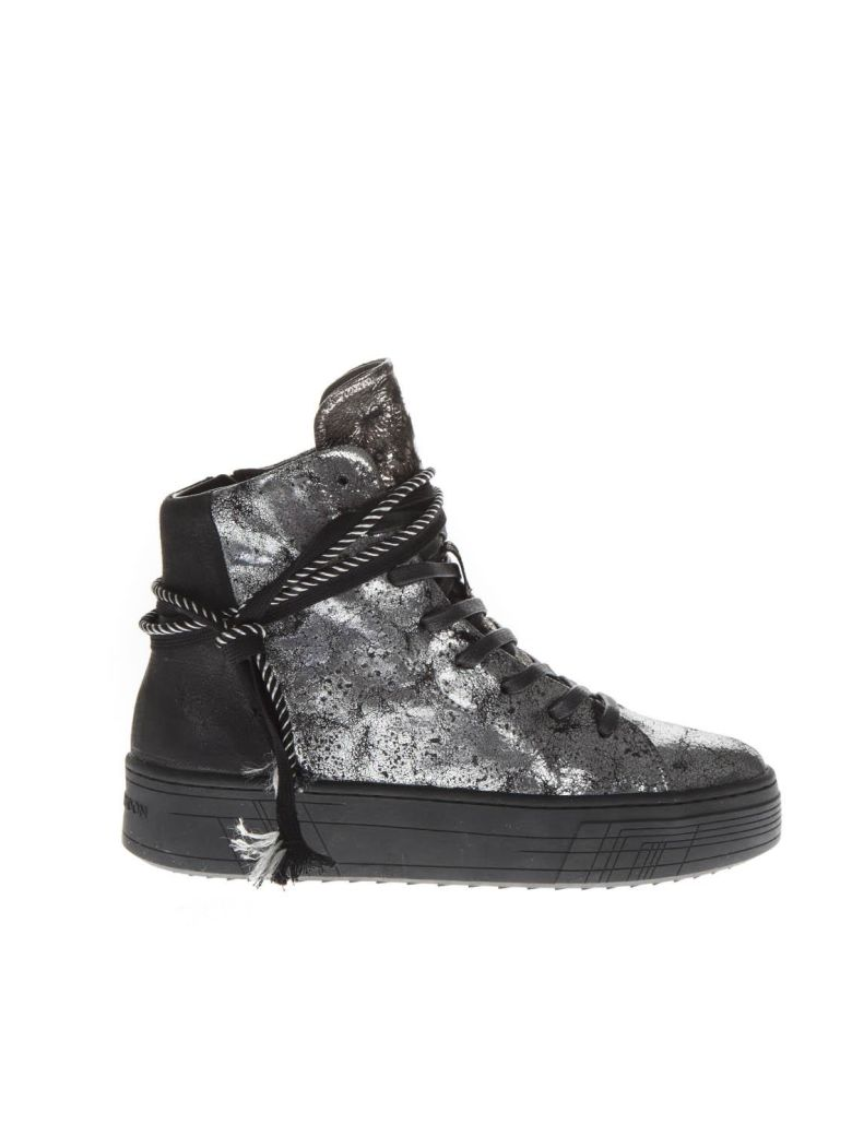 Crime london Silver Leather High-top Sneakers - Silver