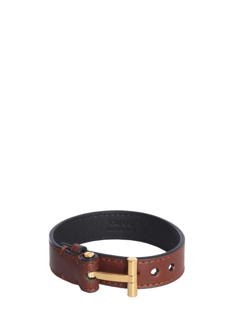 Tom Ford Leather Bracelet - MARRONE