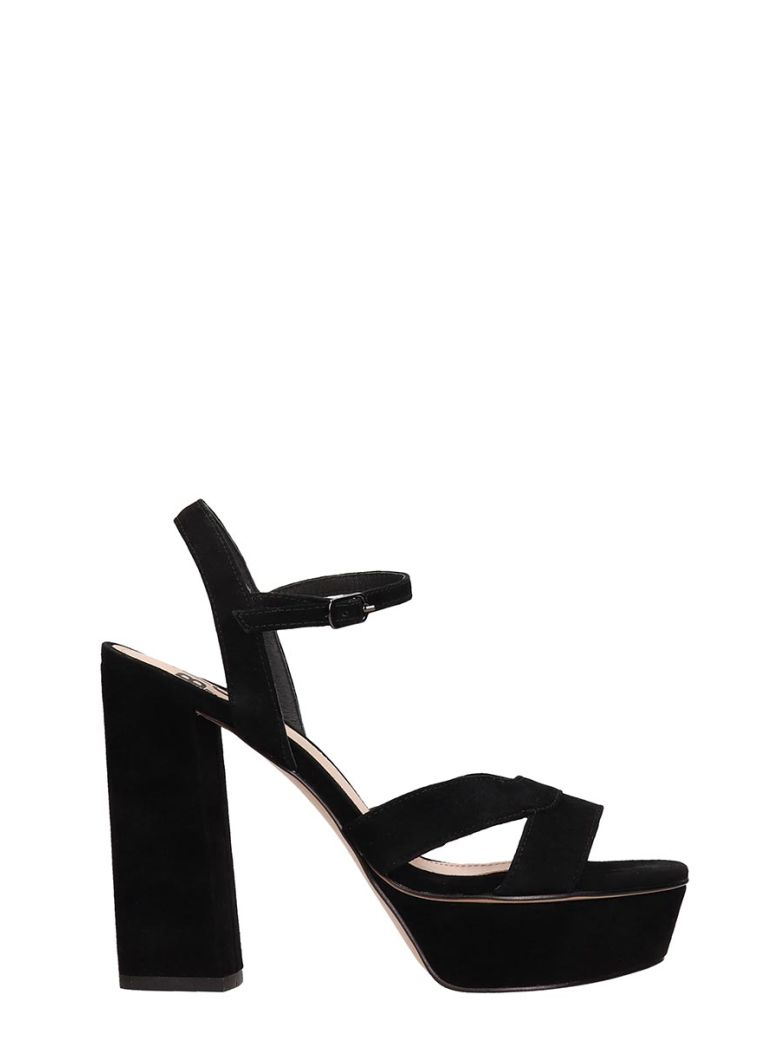 Bibi Lou Plateau Black Suede Leather Sandals - Black
