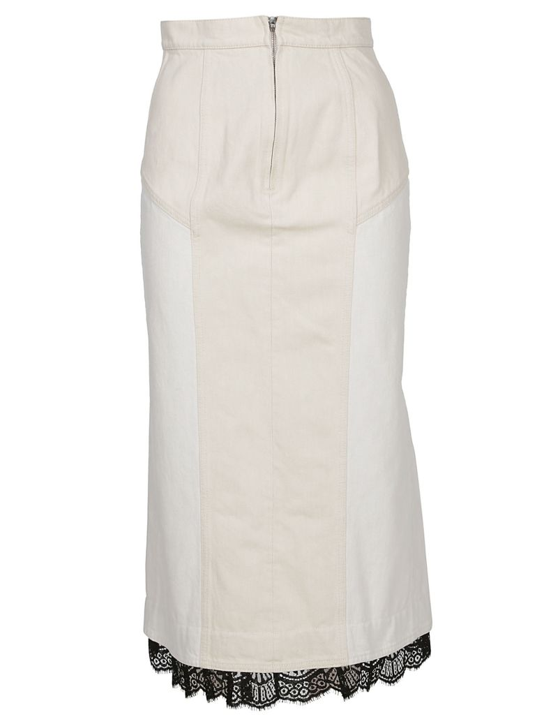 Alexander McQueen Lace Trim Skirt - White