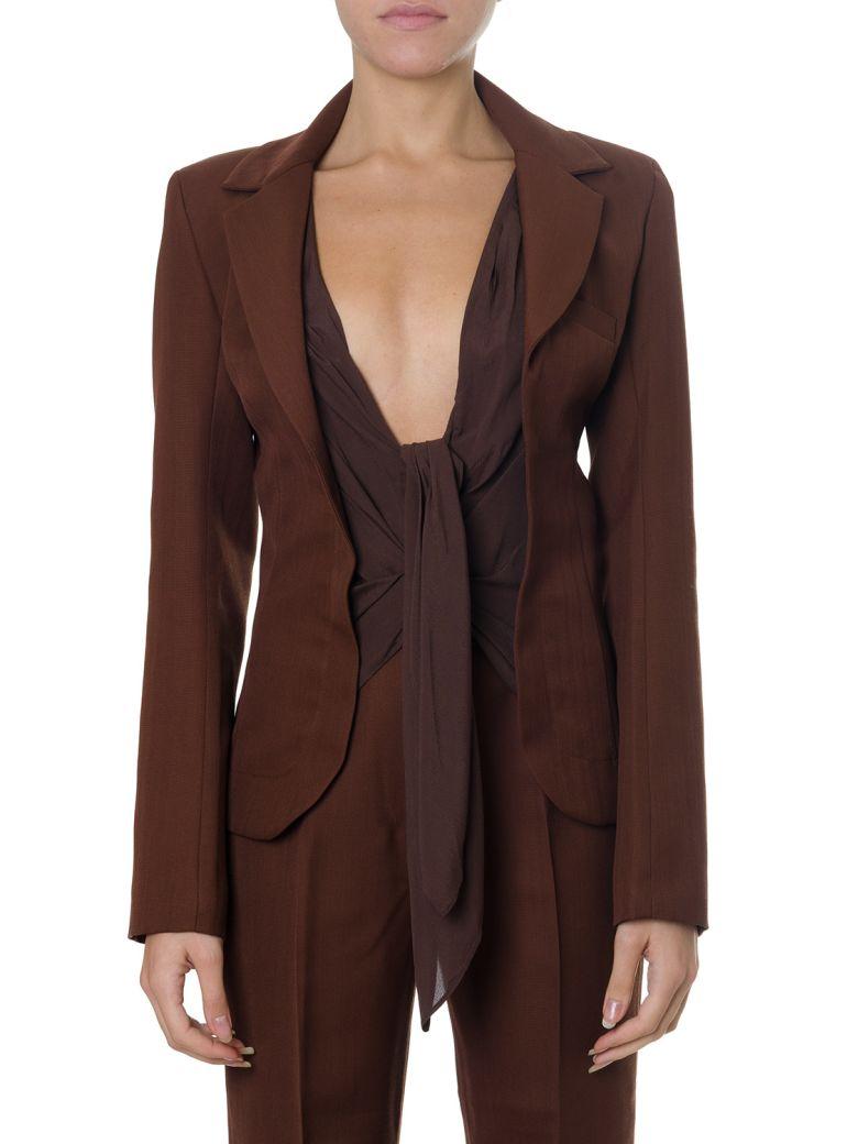 Jacquemus Front Tie Brown Cotton-wool Blend Blazer - Brown