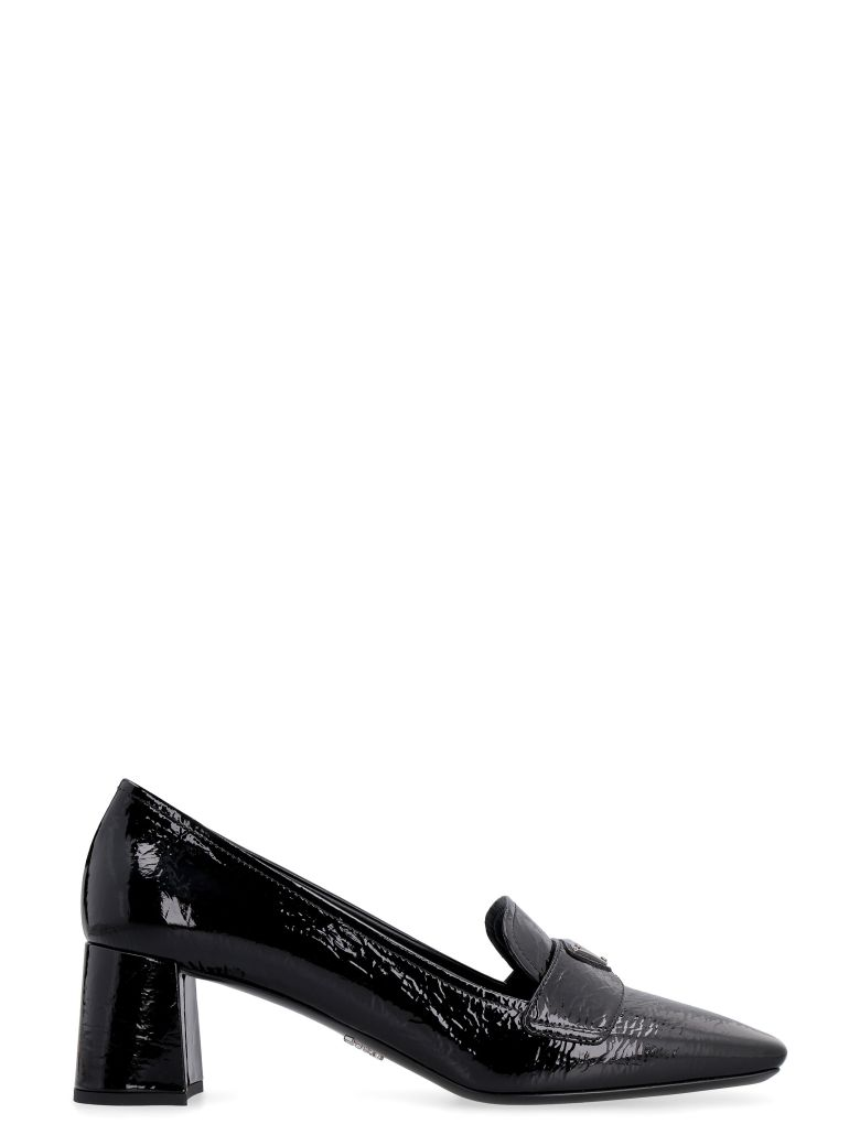 Prada Patent Leather Heeled Loafers - black
