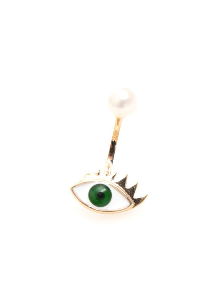 Delfina Delettrez Eye Earring 9kt Gold - GREEN|Verde