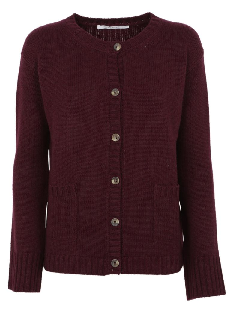 Saverio Palatella Flap Pocket Cardigan - Aubergine