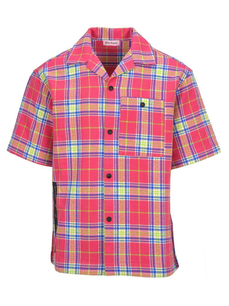Palm Angels T-shirts LOGO PRINT PLAID SHIRT