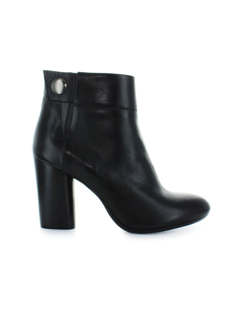 Fiori Francesi Black Leather Ankle Boots With Button - Nero (Black)