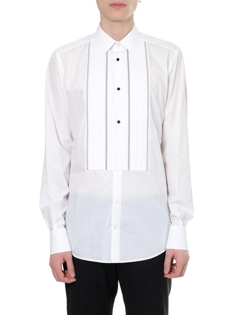 Dolce & Gabbana White Cotton Embroidered Bib Shirt - White