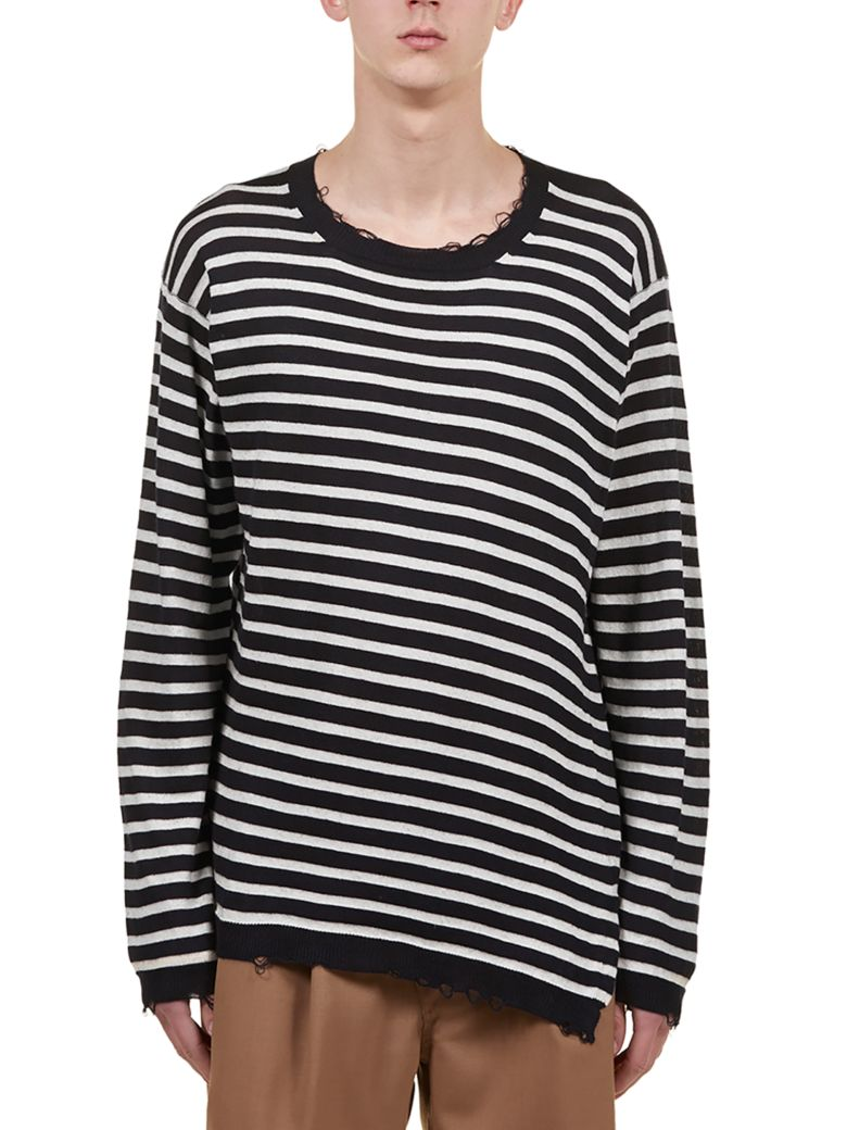 Maison Flaneur Striped Sweater - Dark blue/ivory
