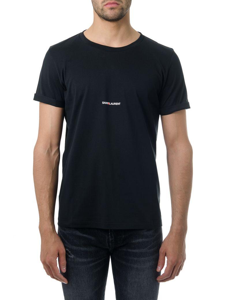 Saint Laurent Black Cotton T-shirt With Logo Print - Black