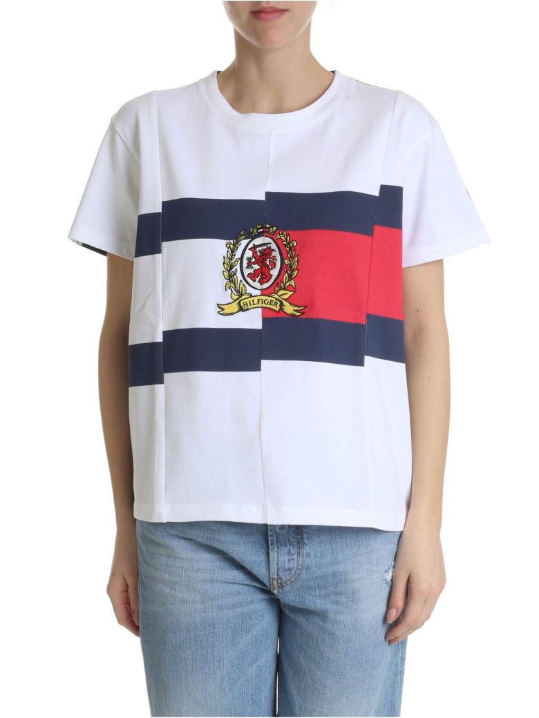 Tommy Hilfiger Contrast Spliced T-shirt - White/Navy