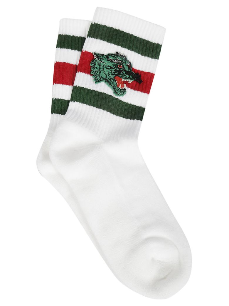 Gucci Patch Socks - White Dark Green