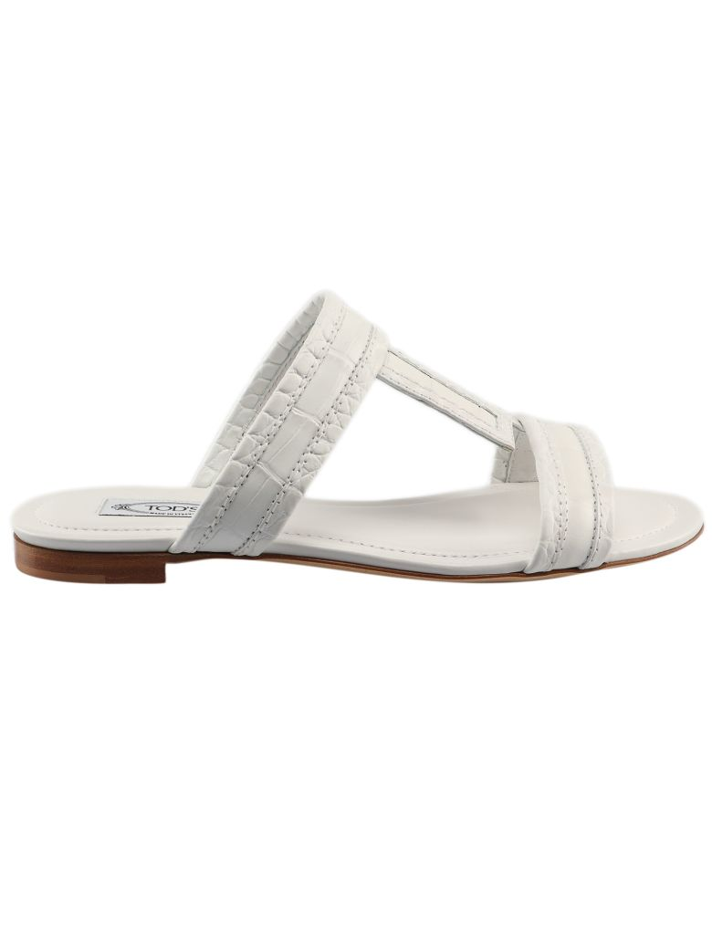 Tod's Crocodile Effect Flat Sandals - Bianco