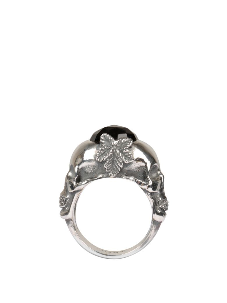 Ugo Cacciatori Double Skull Silver Ring - ARGENTO