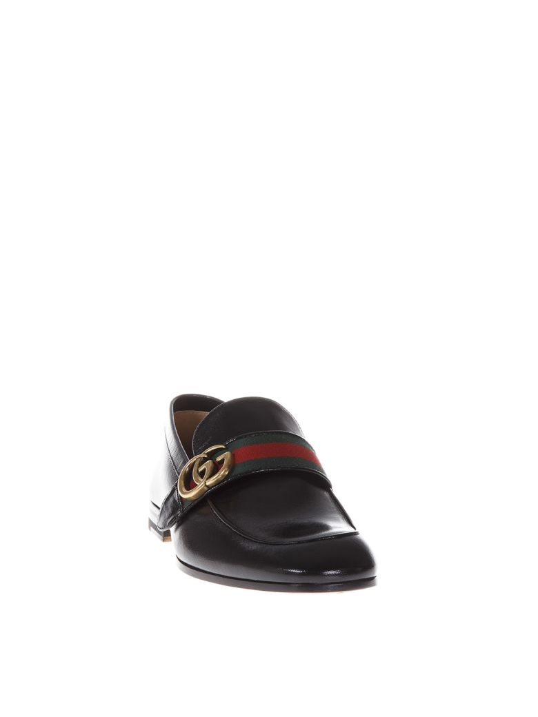 Gucci Black Leather Loafers With Web Detail And Double G - Black