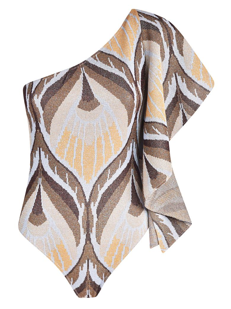 Circus Hotel Abstract Pattern Bodysuit - Caramel