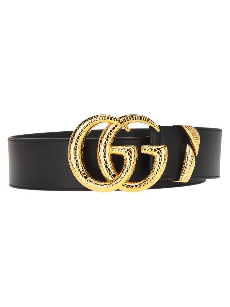 Gucci Gucci Gg Leather Belt - BLACK + GOLD