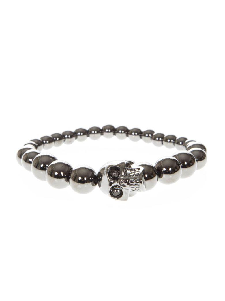 Alexander McQueen Skull Elastic Brass Pearls Bracelet - Ruthenium