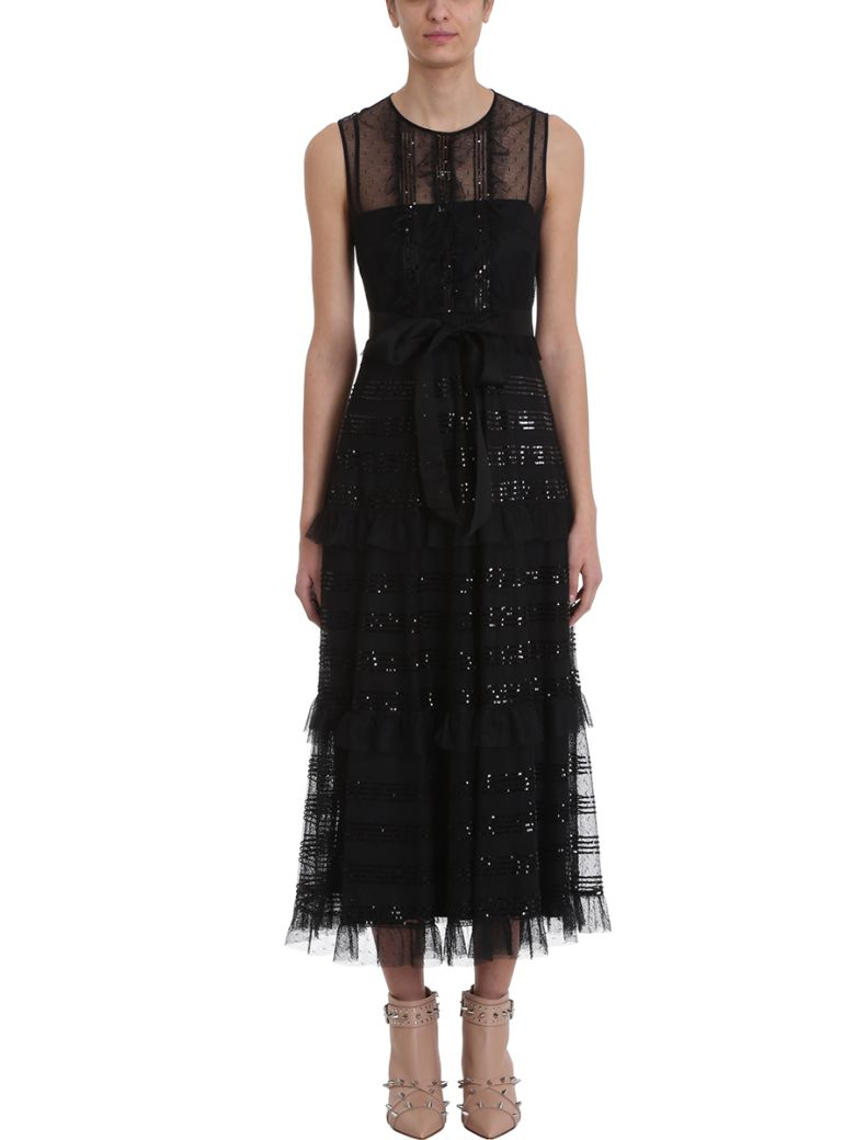RED Valentino Point D'esprit Tulle Long Dress - black