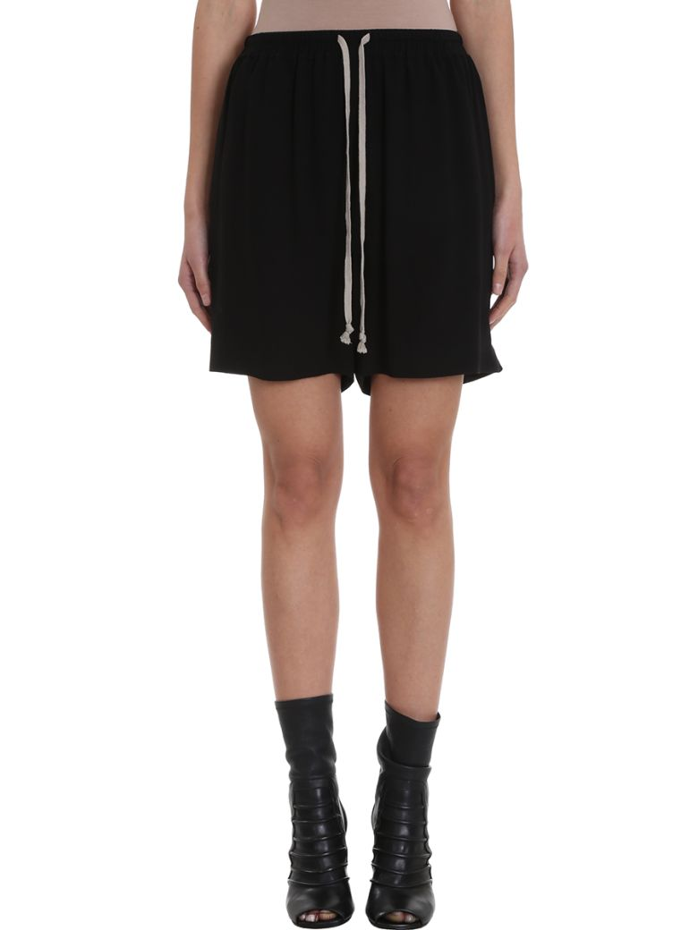 Rick Owens Drawstring Boxe Relaxed-fit Silk-crepe Shorts - black