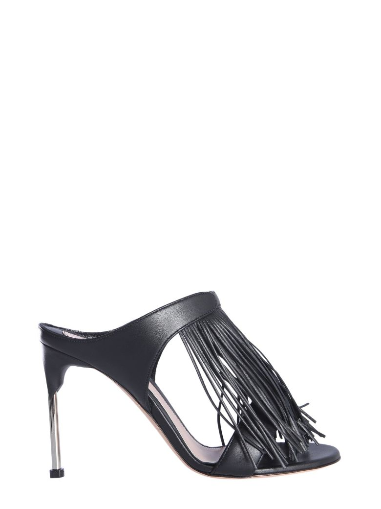 Alexander McQueen Mandle Sandals With Fringes - Black