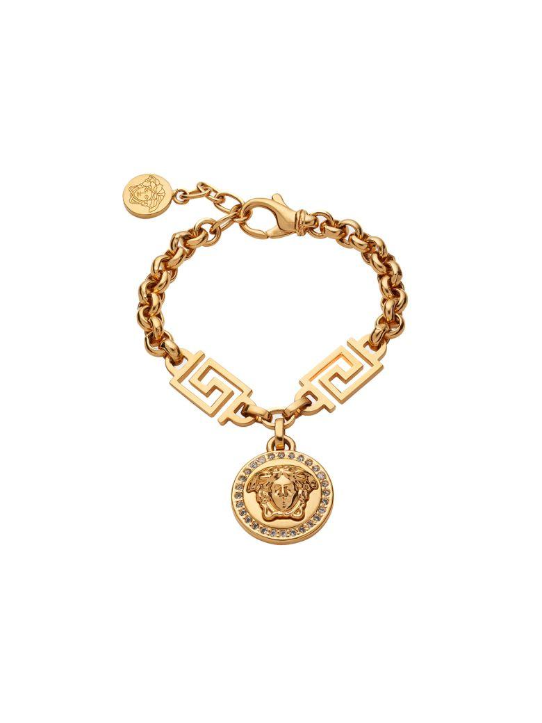 Versace Medusa-charm Crystal-embellished Chain-link Bracelet - Oro