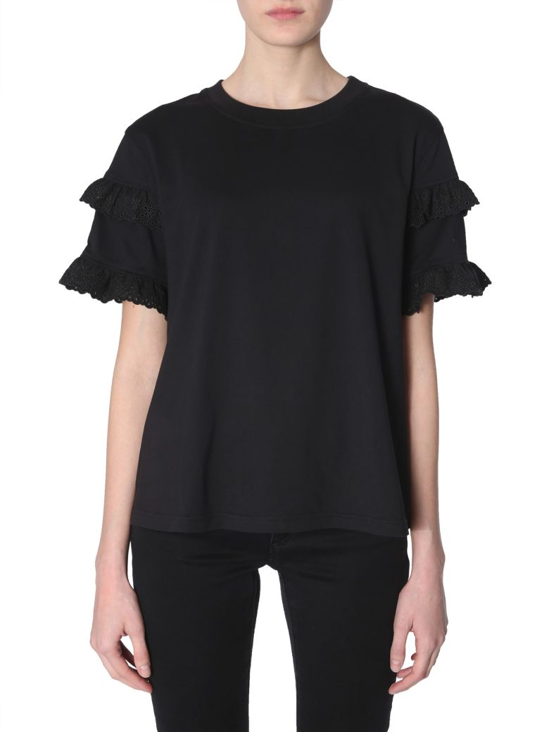 McQ Alexander McQueen Broderie-anglaise Ruffled-sleeve T-shirt - NERO