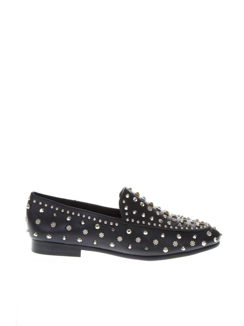Lola Cruz Black Leather Studs Loafer - Black