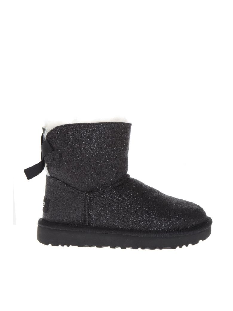UGG Black Sheep Leather Mini Bailey Sparkle Boots - Black