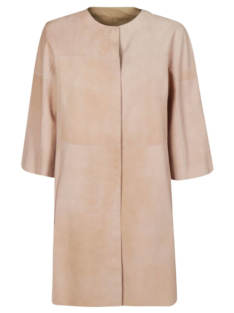 DROMe Collarless Leather Coat - Beige