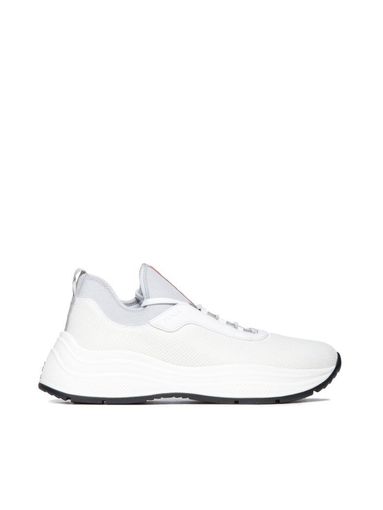 Prada Linea Rossa Logo Sneakers - Bianco alluminio