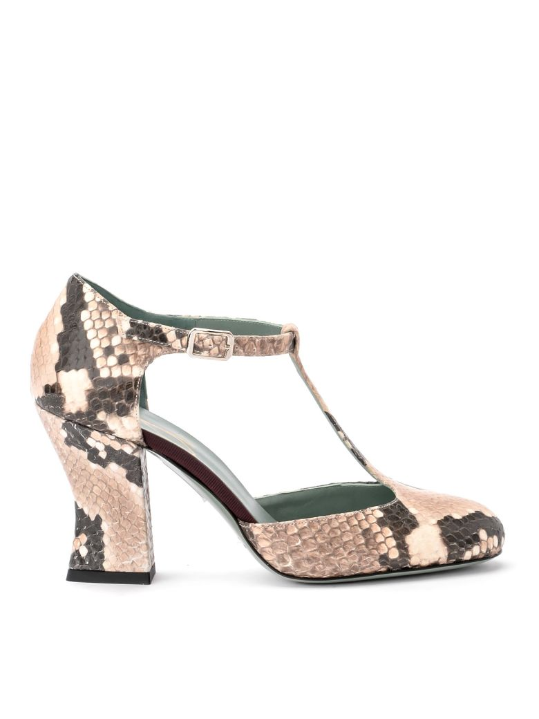 Paola D'Arcano Tabata Ivory Python Printed Leather Decolleté - Multicolor