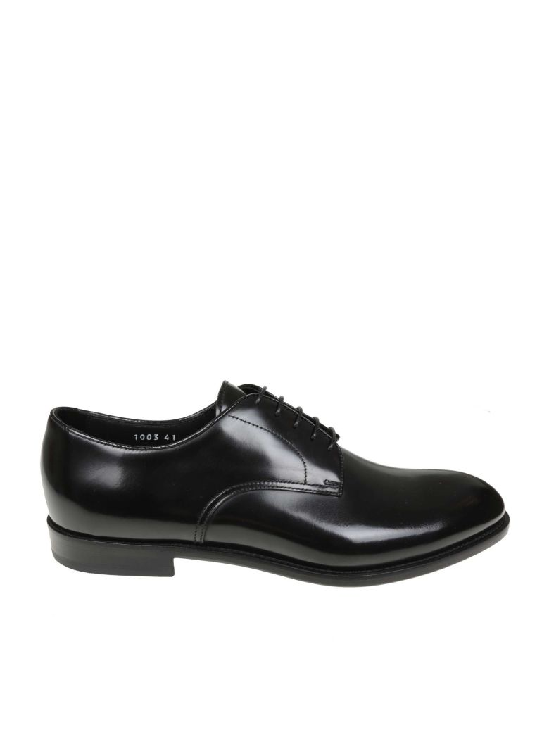 Doucal's Derby In Black Leather - Black