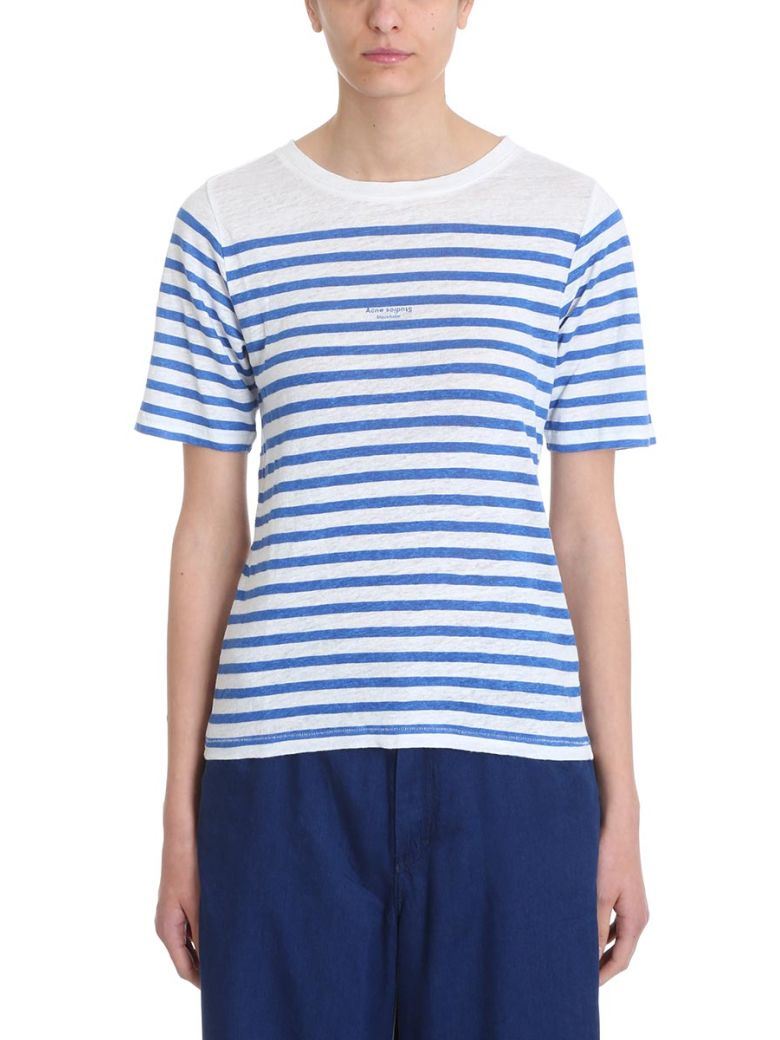 Acne Studios Blue White Stripe Cotton And Linen T-shirt - white