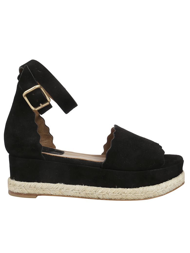 Chloé Scalloped Trim Wedge Sandals - Black