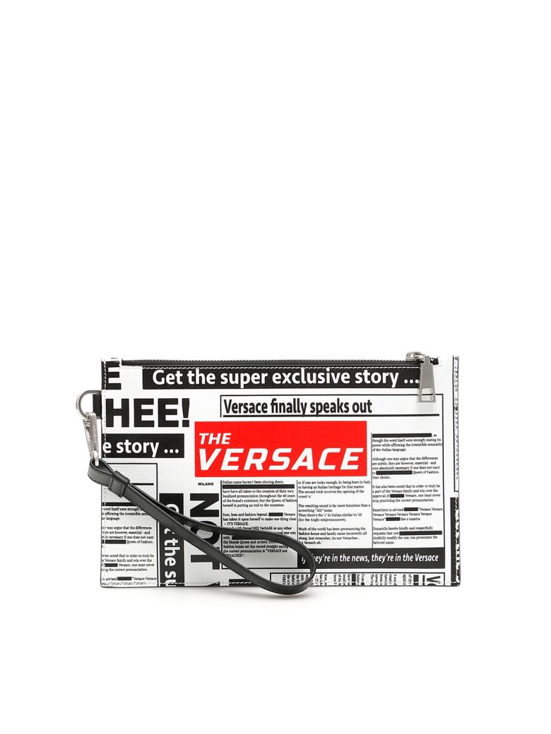 Versace Newspaper Print Pouch - WHITE BLACK RED Bianco