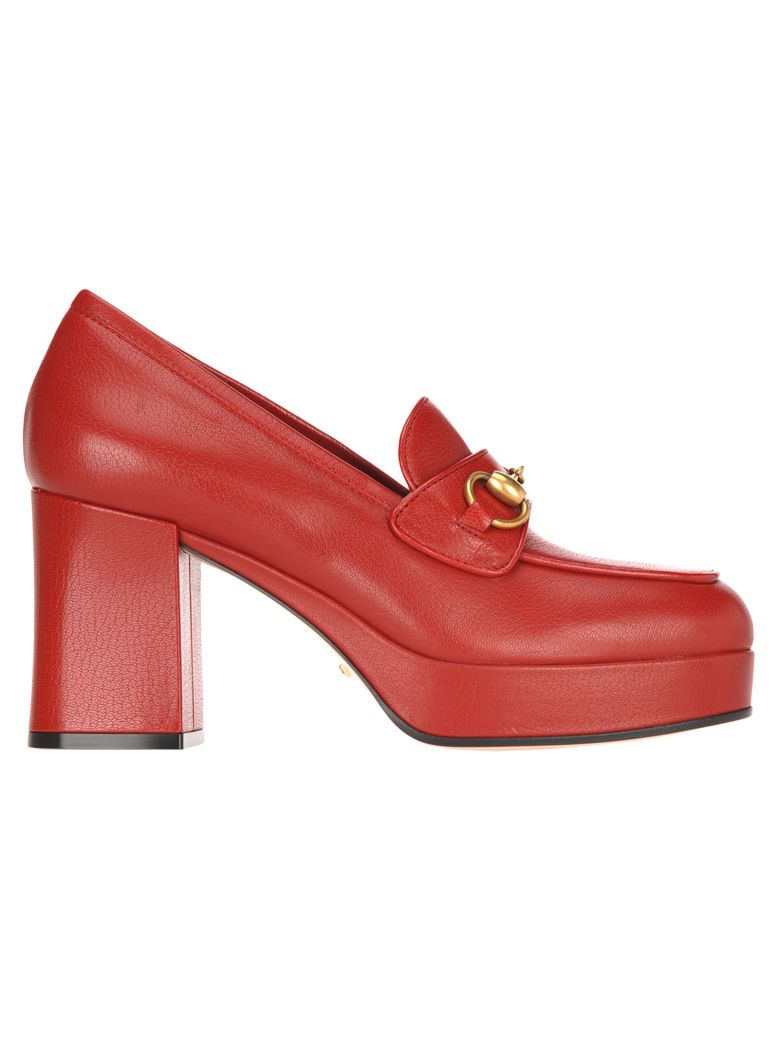 Gucci Gucci Leather Platform Loafer With Horsebit - RED