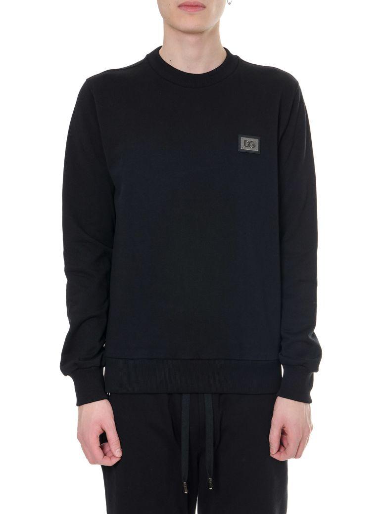 Dolce & Gabbana Black Cotton Logo Plate Sweatshirt - Black