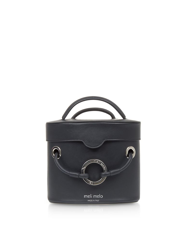 Meli Melo Nancy Black Leather Cylindrical Bag - Black