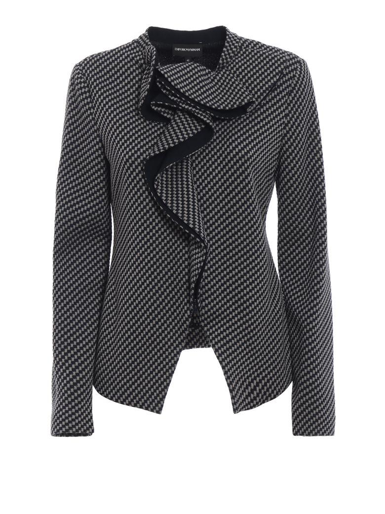 Emporio Armani Ruffled Fitted Jacket - Fblu Grigio