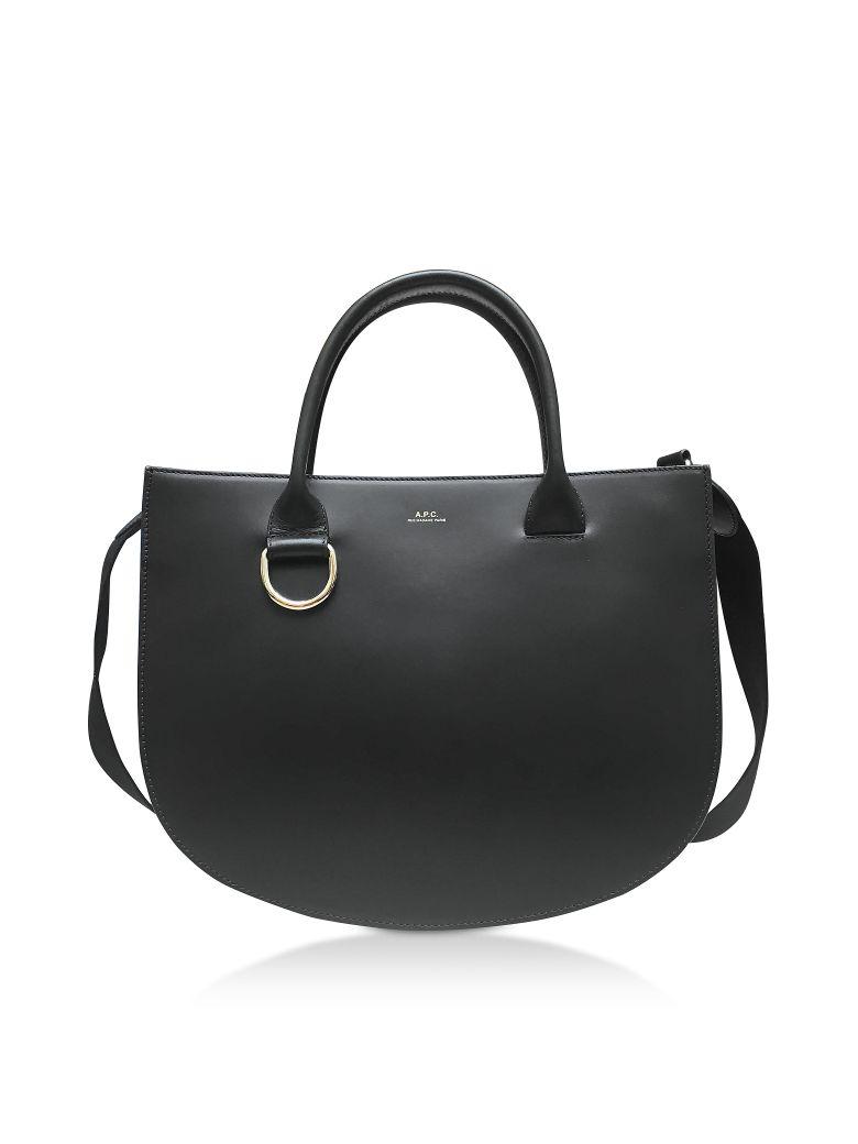 A.P.C. Marion Black Leather Tote Bag - Black